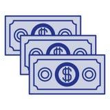 Blue silhouette of money bills set. Vector illustration stock illustration