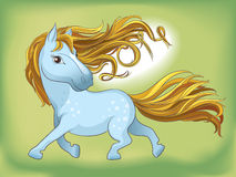 Blue silhouette of a running horse. Mane of hair s. Wirled in the date 2014. The symbol of the coming year in the Chinese calendar Stock Images