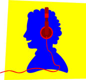 Headphone On. Blue silhouette of a smiling young person wearing a red colored headphone, in front of a yellow frame, apparently listens to music Stock Image