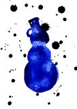 Blue silhouette of Snowman. Isolated blue watercolor aquarelle painting hand drawn silhouette of glacial Snowman with blots and snowflakes on white background Stock Photos