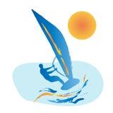 Blue silhouette of windsurfing man Stock Photo