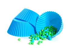 Blue silicone baking cups. Royalty Free Stock Images