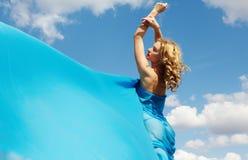 Blue silk Stock Photos