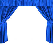 Blue silk curtains with garter isolated on white Royalty Free Stock Photo