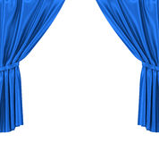 Blue silk curtains with garter isolated on white Stock Photo