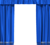 Blue silk curtains with garter isolated on white Royalty Free Stock Image