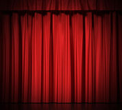 Blue silk curtains with garter  on white Royalty Free Stock Image