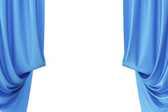 Blue silk curtains for theater and cinema spotlit light in the center. 3d rendering. Blue silk curtains for theater and cinema spotlit light in the center, 3d Royalty Free Stock Images