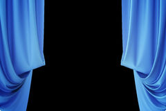 Blue silk curtains for theater and cinema spotlit light in the center. 3d rendering. Blue silk curtains for theater and cinema spotlit light in the center, 3d Royalty Free Stock Photo