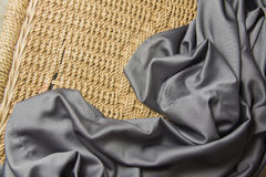 Blue silk drapery Stock Photos