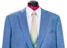 Blue silk jacket with shirt and tie close up Stock Photo