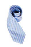 Blue Silk Necktie Over White Background Stock Image