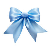 Blue silk ribbon bow. Isolated on white Royalty Free Stock Images