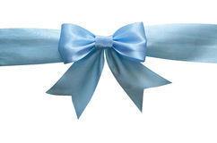 Blue silk ribbon and bow. Isolated on white Royalty Free Stock Photography