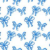 Blue silk ribbon bows as seamless pattern. Vector illustration isolated on white background Royalty Free Stock Photos