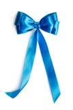 Blue silk ribbon. Isolated on white background Stock Photos