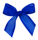Blue silk ribbon knot Stock Images