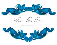 Blue silk ribbon on white Royalty Free Stock Image