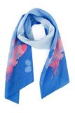Blue silk scarf with colors on a white background Stock Photo