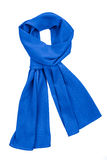 Blue silk scarf isolated on white background stock photography