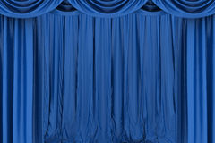 Blue silk stage curtain on theater Royalty Free Stock Photography