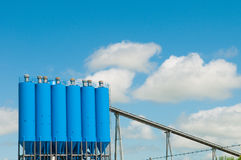 Blue silo Stock Photo