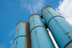 Blue silos Royalty Free Stock Photography