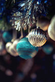 Blue and silver baubles. Royalty Free Stock Photo
