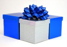 Blue and silver boxes. A group of blue and silver gift boxes Stock Images