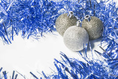 Blue and silver Christmas background to insert text Royalty Free Stock Images