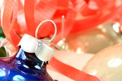 Blue and Silver Christmas Ball Ornament Stock Images