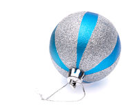 Blue-silver christmas ball Stock Photos