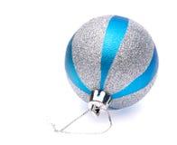 Blue-silver christmas ball Stock Photos