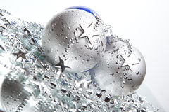 Blue and silver Christmas balls. With silver decoration stock image