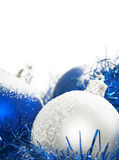 Blue and silver christmas balls Stock Photos