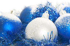 Blue and silver christmas balls. Isolated on a white background royalty free stock images