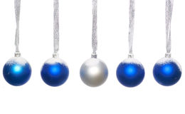 Blue and silver christmas balls. Isolated on a white background stock images
