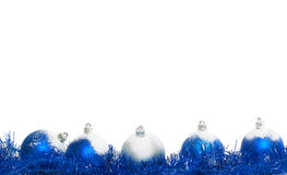 Blue and silver christmas balls. Isolated on a white background royalty free stock photography