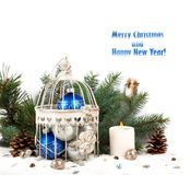 Blue and silver christmas balls in a cage Royalty Free Stock Photo