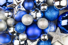 Blue and silver Christmas balls for a christmas background Stock Images