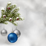 Blue and silver Christmas balls Royalty Free Stock Photo