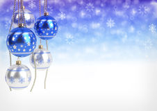Blue and silver christmas balls hanging on bokeh background. 3D render Stock Photo