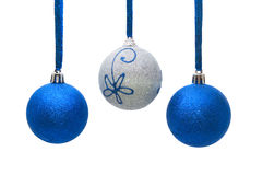 Blue and silver christmas balls isolated on white Royalty Free Stock Photography