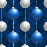 Blue and silver christmas balls. Seamless background Royalty Free Stock Images