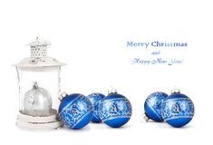 Blue and silver Christmas balls and vintage lantern. Isolated on white background royalty free stock image