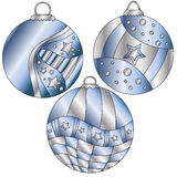 Blue and silver Christmas baubles. Blue and silver Christmas bauble collection with stripes and stars Stock Photos