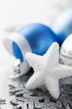 Blue and silver christmas decoration Stock Images