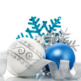 Blue and silver christmas decoration. On white background Royalty Free Stock Photo