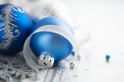 Blue and silver christmas decoration Royalty Free Stock Photo