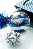 Blue and silver christmas decorations Stock Photos